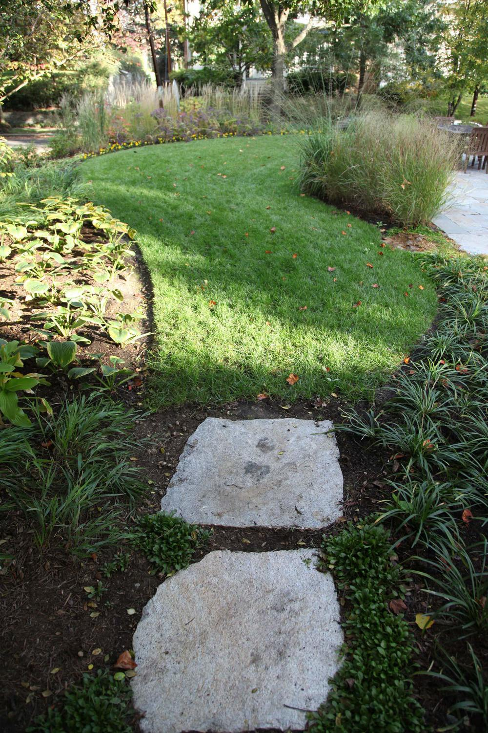 Project Location:  Washington, DC (Chevy Chase)  Completion:  Fall 2011  General Contractor:  JM Landscaping  Primary Material Palette:  Old Spruce Mtn. flagstone, select blue thermal finish bluestone, ipe, pine straw  Photos By:  Moody Landscape Architecture (unless noted otherwise)