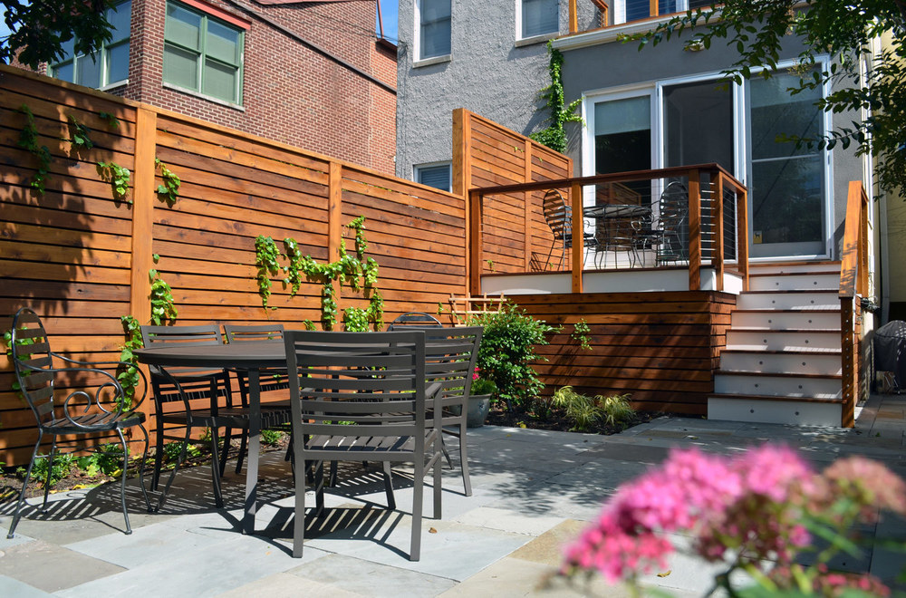 Project Location:  Washington, DC (Capitol Hill)  Project Type:  Single Family Residential  Completion:  Spring 2013  General Contractor:  Till Gardens  Primary Material Palette:  full range natural cleft bluestone, mahogany, western red cedar  Photos By:  Moody Landscape Architecture