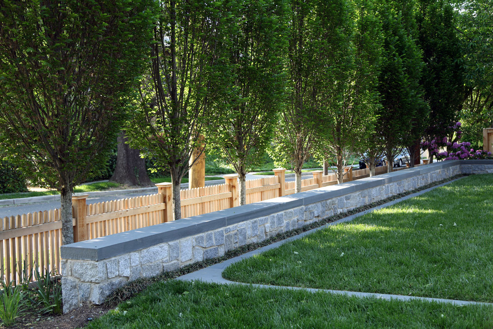 Project Location:  Washington, DC (Chevy Chase)  Completion:  Fall 2013  General Contractor:  Redux Garden & Home  Project Architect:  E/L Studio (garage design)  Primary Material Palette:  Granite cobblestones, bluestone, Port Deposit granite, western red cedar, copper  Photos By:  Moody Landscape Architecture (unless noted otherwise)