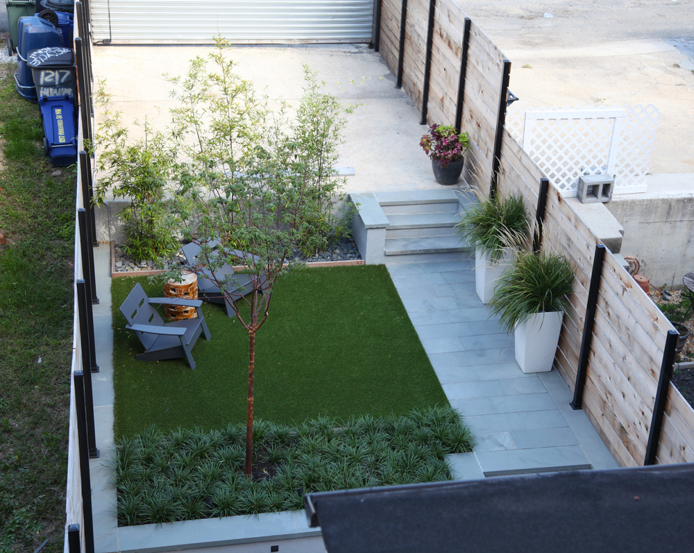 Project Location:  Washington, DC (Columbia Heights)  Completion:  Spring 2015  General Contractor:  Redux Garden & Home  Primary Material Palette:  thermal finish select blue bluestone, cedar, stucco concrete, synthetic turf, ipe  Photos By:  Moody Landscape Architecture (unless noted otherwise)