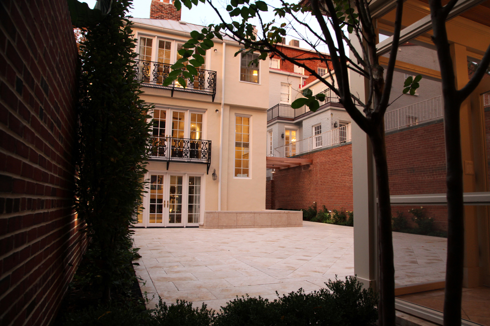Project Location:  Washington, DC (Georgetown)  Completion:  Summer 2015  General Contractor:  OldeTowne Historic Landscape  Primary Material Palette:  Crema Eda marble, brick, cedar, copper  Photos By:  Moody Landscape Architecture (unless noted otherwise)
