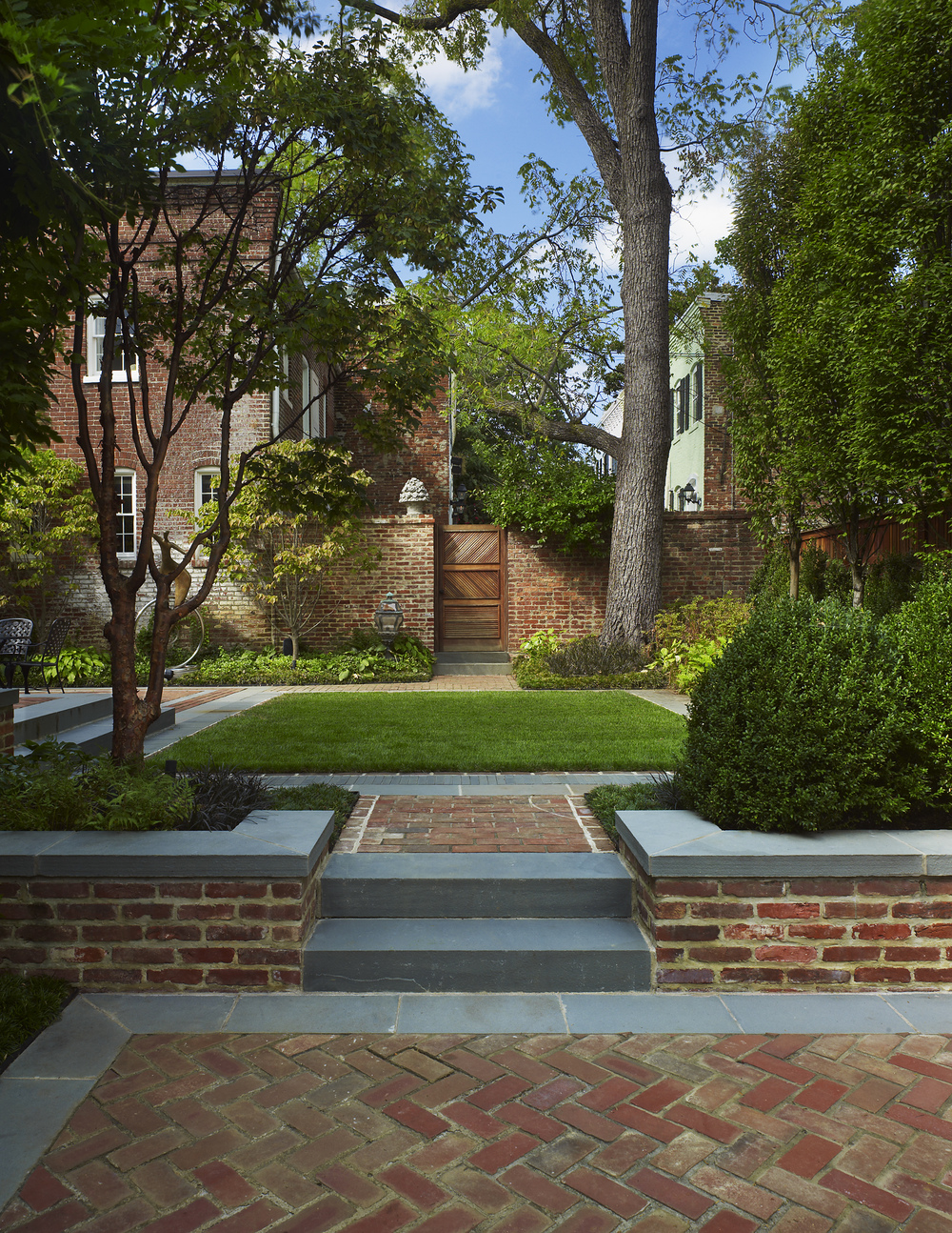 Project Location:  Washington, DC (Georgetown)  Completion:   2008  Landscape Contractors:  Quarry Aquatics, Evergro Landscaping  Project Architect:  Barnes Vanze  Primary Material Palette:   Bluestone, Brick, European Hornbeam  Photos By:  Allen Russ  Awards:  Honor Award, American Society of Landscape Architects Maryland Chapter, 2009
