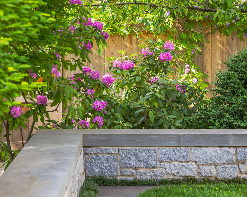 Project Location:  Washington, DC (Chevy Chase)  Completion:  Fall 2013  General Contractor:  Redux Garden & Home  Project Architect:  E/L Studio (garage design)  Primary Material Palette:  Granite cobblestones, bluestone, Port Deposit granite, western red cedar, copper  Photo By:  Allen Russ