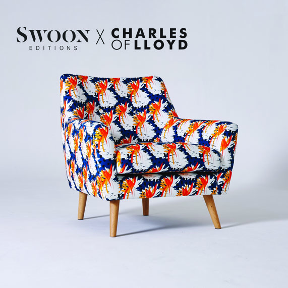 Check out our newly released collaboration with London based furniture maker Swoon Editions in the shape of the Templeton chair. It's a tasty little Mid century spin off with its curves and turned legs upholstered in our 40 degree blue fabric.