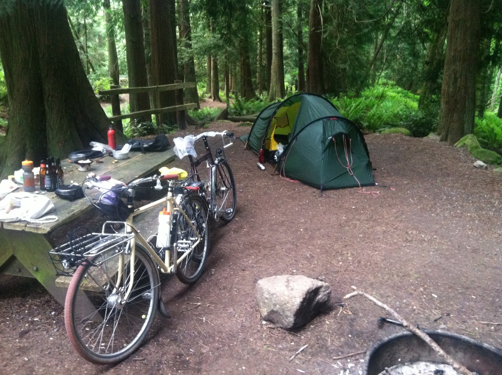 Campsite at Larabee State Park. New tent in the background.