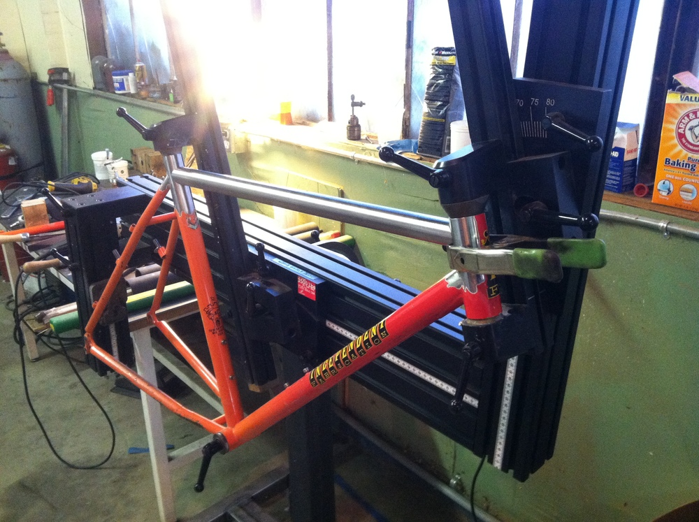 Top tube replacement on an Indy Fab mountain bike.