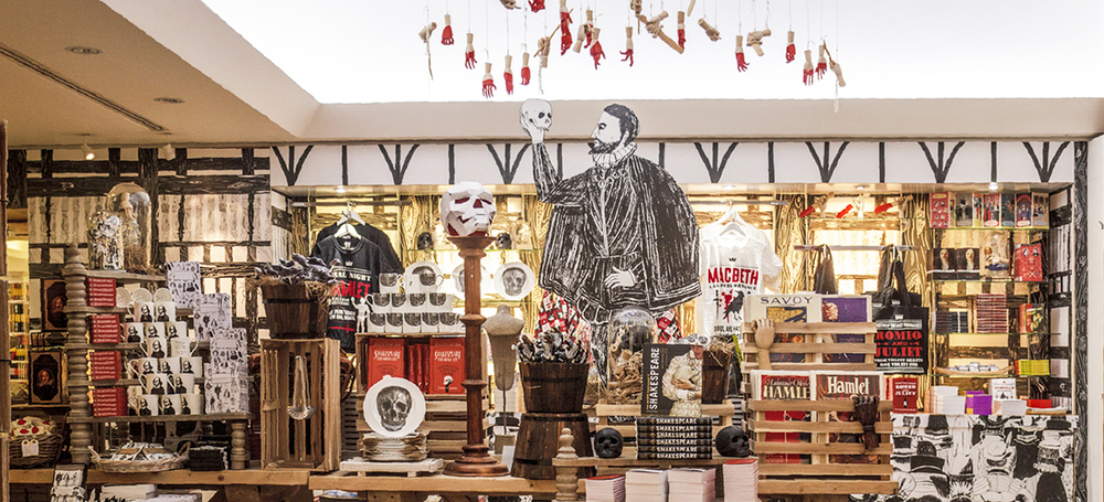 British Library Shakespeare Shop. Store illustrations by our Creative Director James Barker. Store design and visual merchandising by Exhibeo VM. Photos by Alberto Balazs.