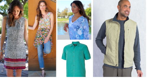 From flowery Apropos tunics to the stylish Men's Desert Shirts by Royal Robbins, the store is packed full of great, new, easy care clothing.
