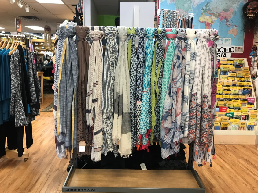 & SCARFS -  Another way to protect your skin is by using a scarf. In store we have an abundance of brand-new scarfs hand selected by the owner of Changes in Latitude.