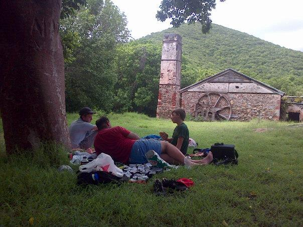 Picnic at Reef Bay Plantation on the Reef Bay Trail in the St John's National Park, USVI