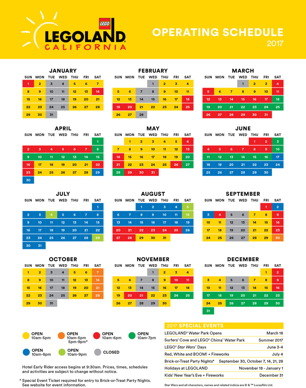 2017 LEGOLAND® PARK OPERATING HOURS