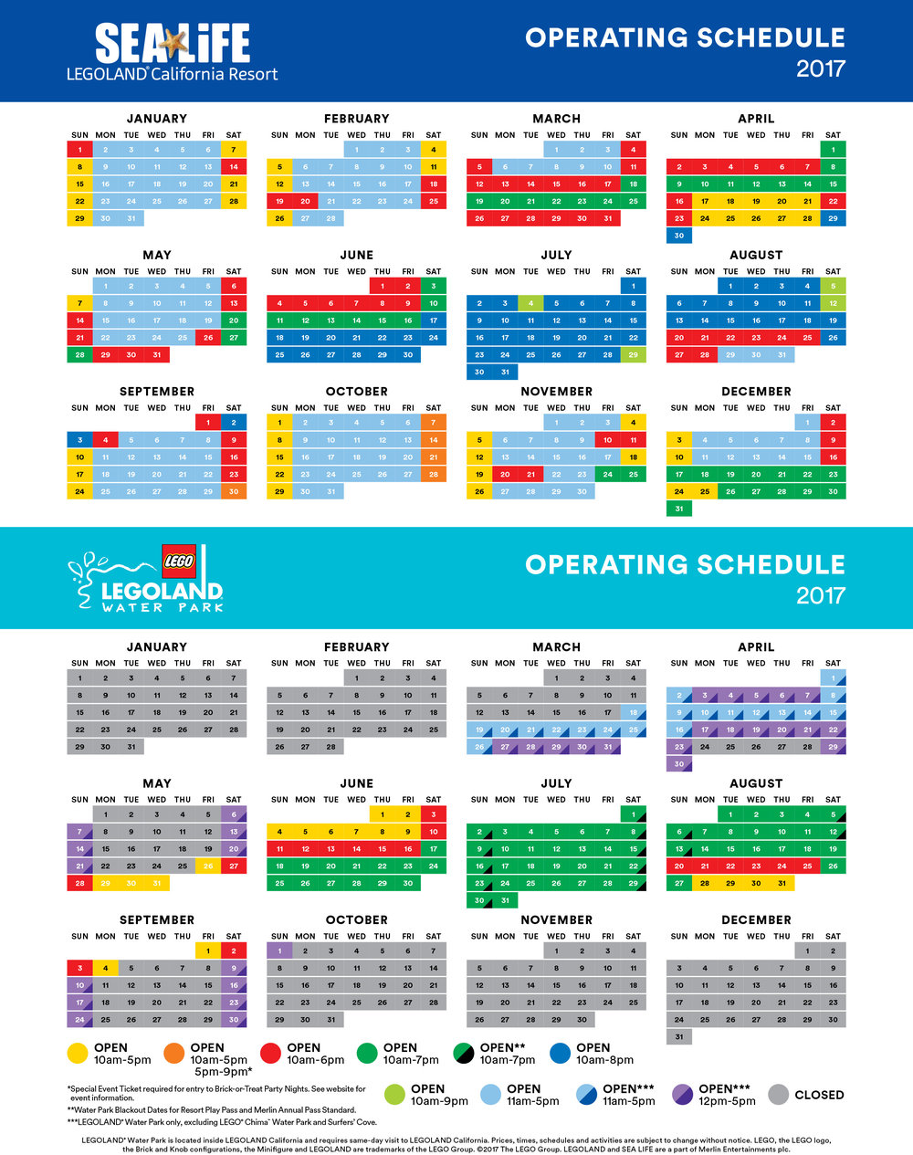 2017 LEGOLAND® WATERPARK AND SEA LIFE PARK OPERATING HOURS
