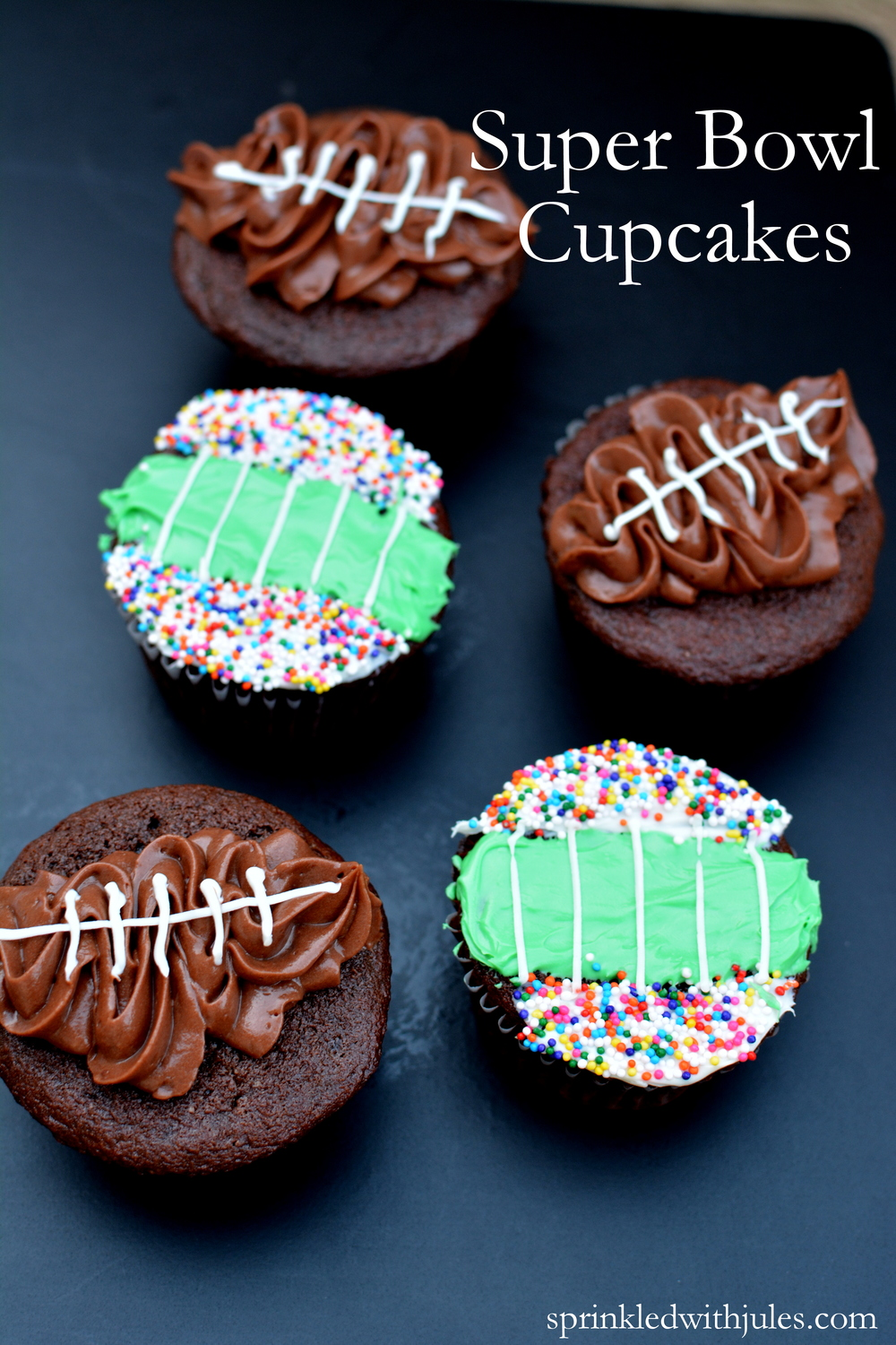 Super Bowl Cupcakes Tutorial / Sprinkled With Jules