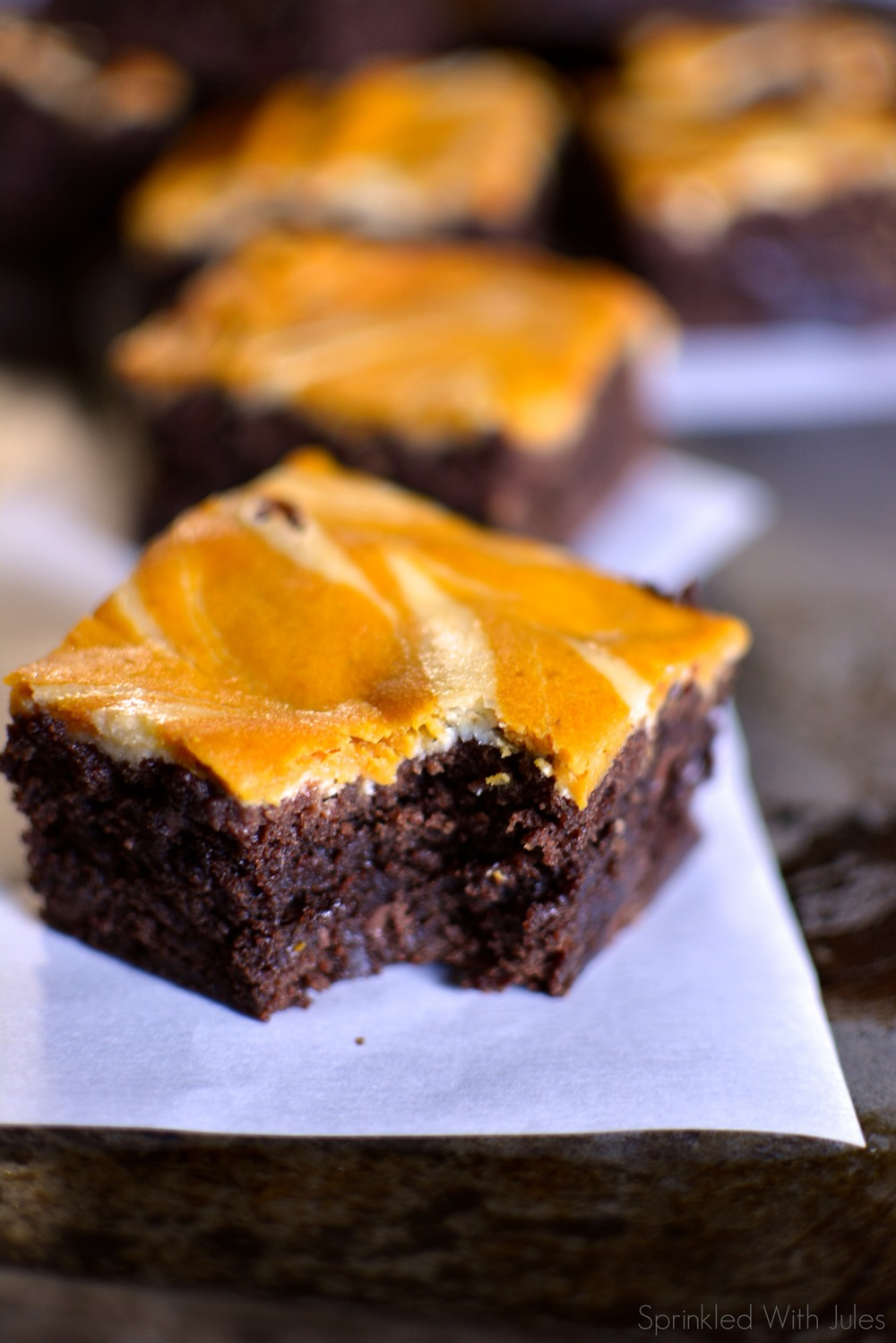Pumpkin Cheesecake Swirl Brownies / Sprinkled With Jules