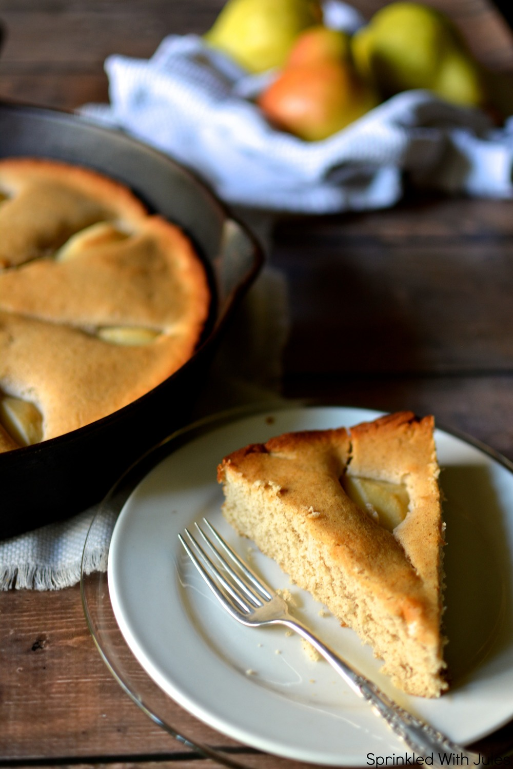 Skillet Cinnamon Pear Coffee Cake / Sprinkled With Jules