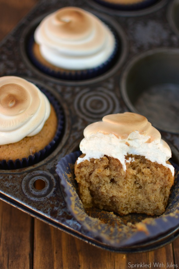 Sweet Potato Cupcakes with Toasted Marshmallow Frosting / Sprinkled With Jules