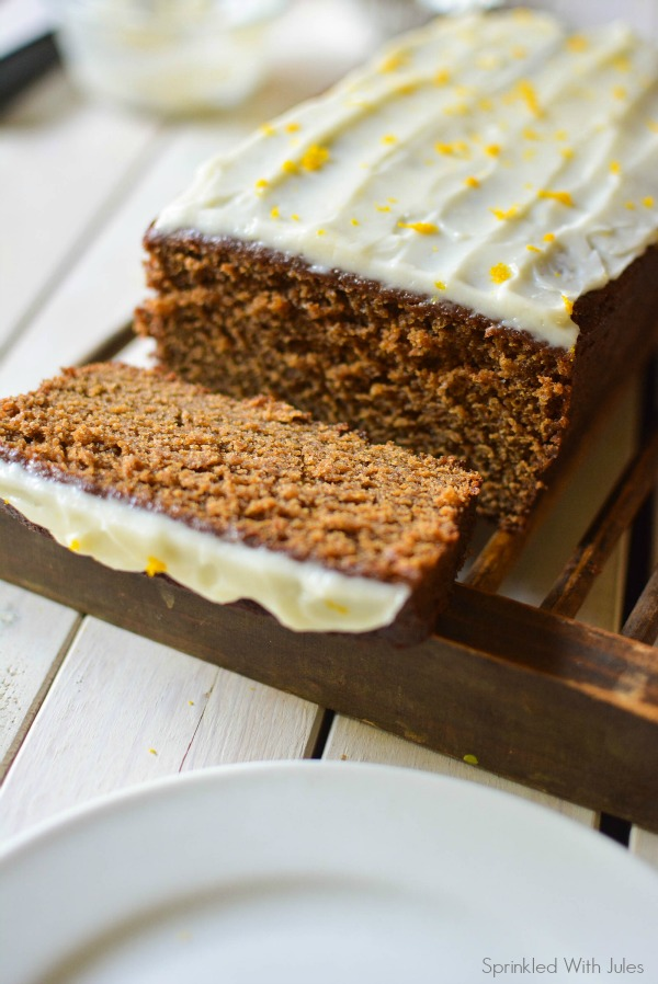 Gingerbread Loaf with Orange Zest Cream Cheese Frosting / Sprinkled With Jules