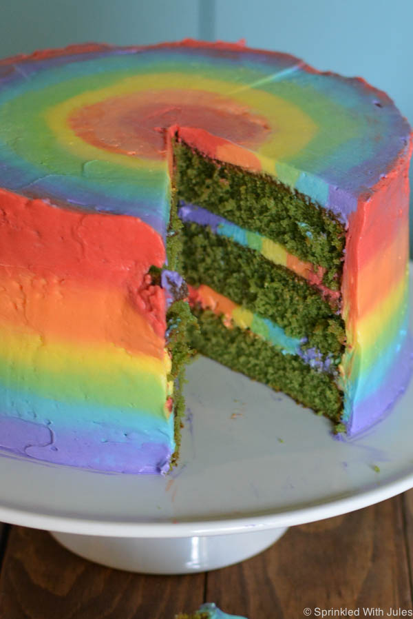 Rainbow Green Velvet Cake. Rainbow frosting with a green interior for St. Patrick's Day! / Sprinkled With Jules