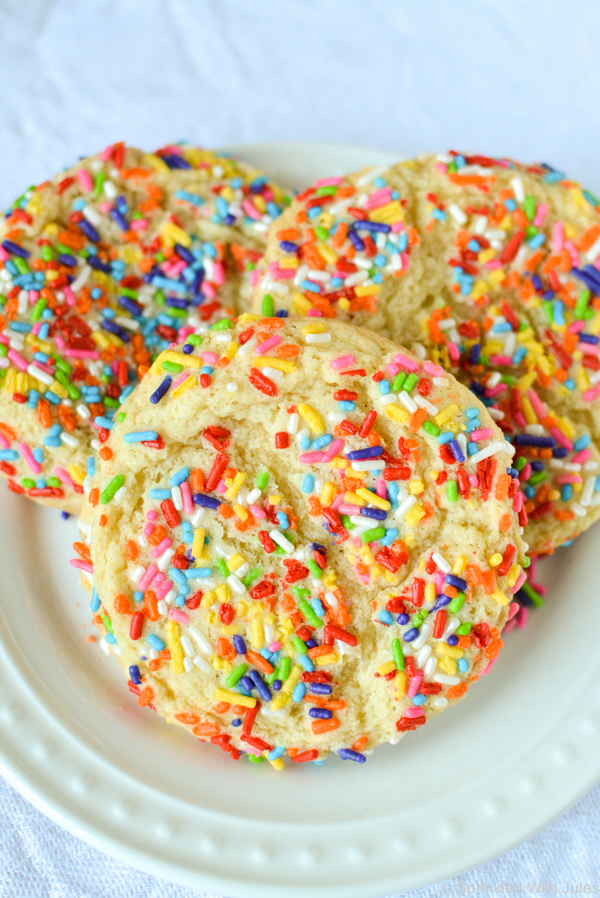 bakery style large, soft-baked confetti cookies.