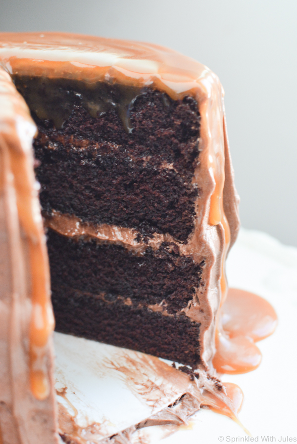 chocolate layer cake with mocha frosting and drizzled in caramel sauce. The best combination of chocolate and caramel!