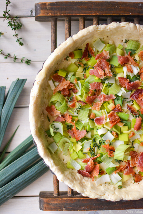 bacon, leek, and thyme quiche. The best savory quiche ever!