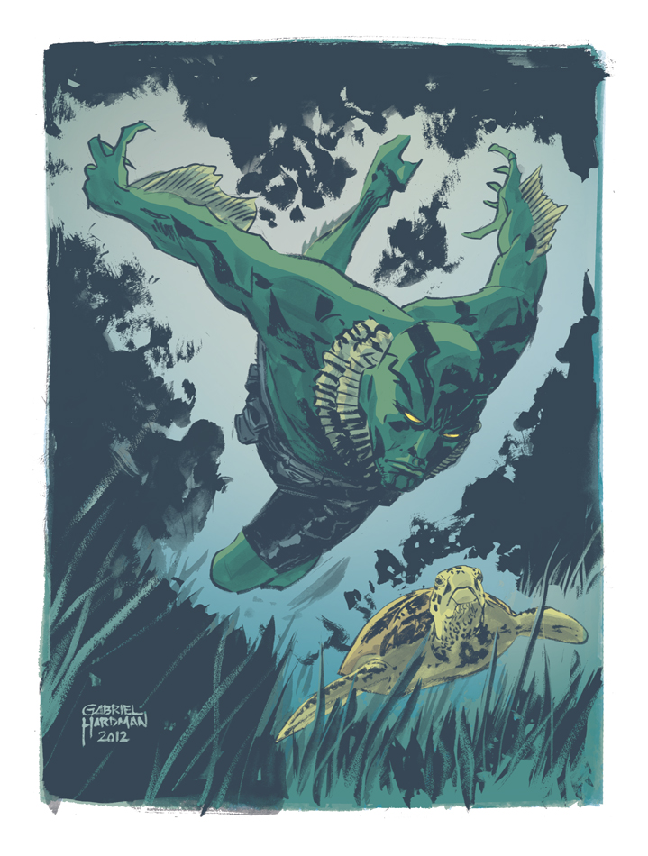Abe Sapien Illustration by Gabriel Hardman/ colors by Kelly Fitzpatrick Thank you Gabriel for the lovely high res. images! It was really really appreciated! http://www.gabrielhardman.com/