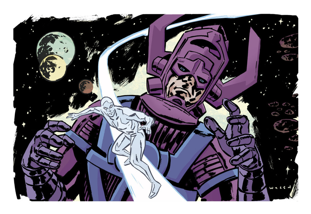 Galactus and Silver Surfer illustration by Michael Walsh/ colors by Kelly Fitzpatrick     http://misterwalsh.tumblr.com /