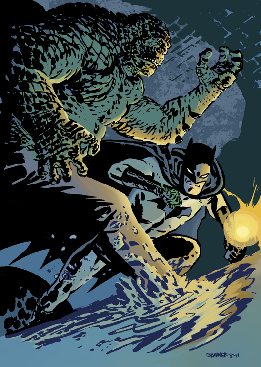 Batman and Killer Croc drawing by Chris Samnee.   Colored another awesome drawing by Chris Samnee. Massive thank you to Chris for this and a HUGE congrats to him for the Eisner win!! You can see the original b/w drawing here:  http://chrissamnee.deviantart.com/art/Batman-and-Killer-Croc-254584807