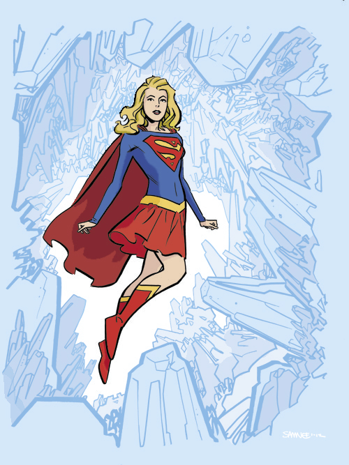 Supergirl sketch by Chris Samnee.   Colored this very cool sketch by Chris. Huge thank you to Chris for giving me permission to be able to color and post this.