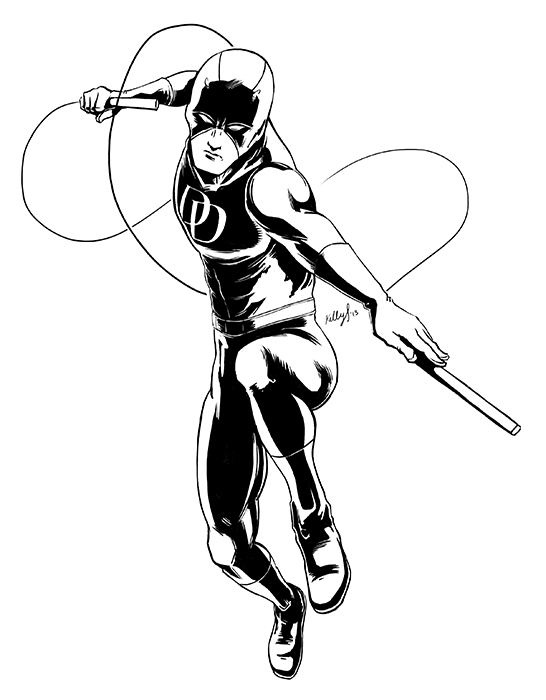 Daredevil (inked). Digital. PSCS4 This is my ink drawing of Daredevil before I throw in some flats and maybe a gradient. I'm going to get the final printed into stickers for C2E2. If you see me at the con, I'll be handing them out for free.  I'll be posting the colored version up here later.