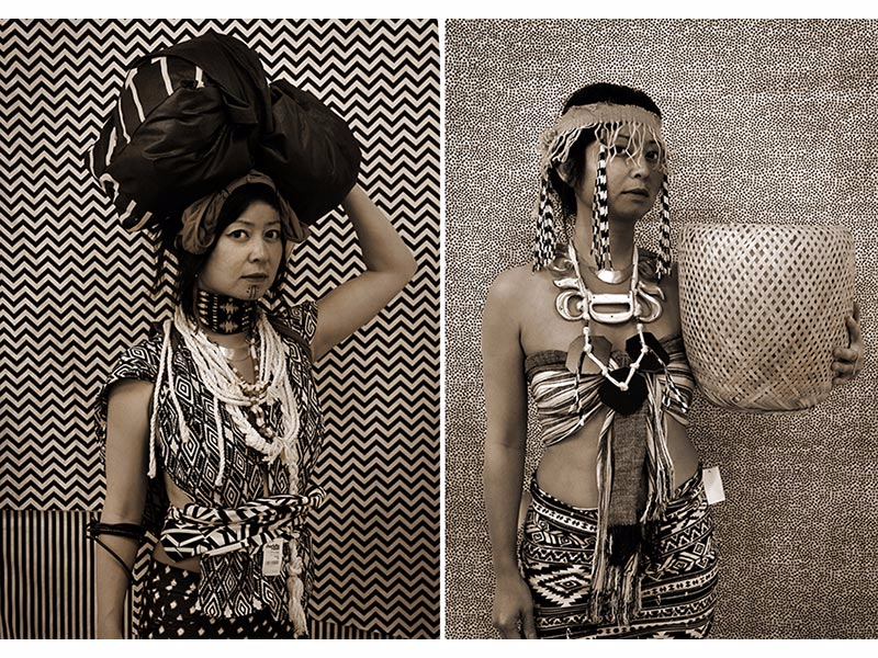 Stephanie Syjuco, Cargo Cult Series, (left, Headbundle; right, Basketwoman), 2013-2016.