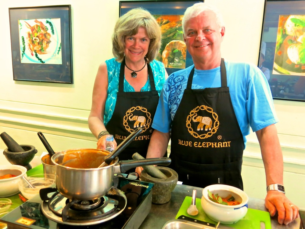 Sue and Bob Frause at Blue Elephant Cooking School in Bangkok, Thailand.