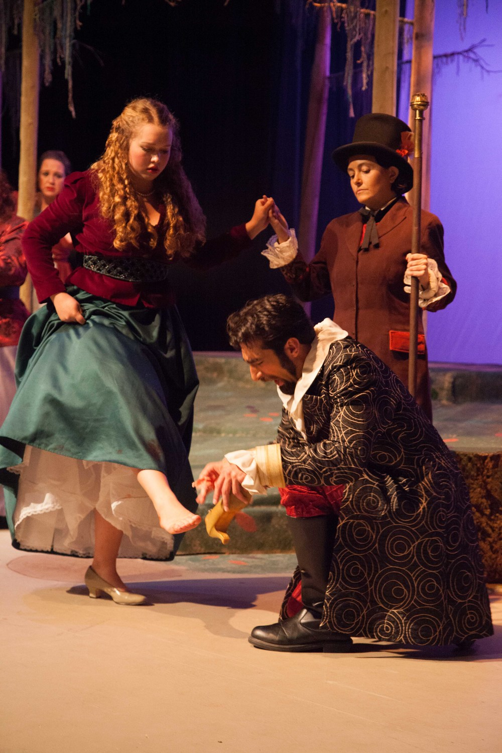 Lucy Pearce as The Steward with Hannah McConnaughey as Lucinda and Ethan Berkley as Cinderella's Prince in Into the Woods, October 2014 - photo by j shu images