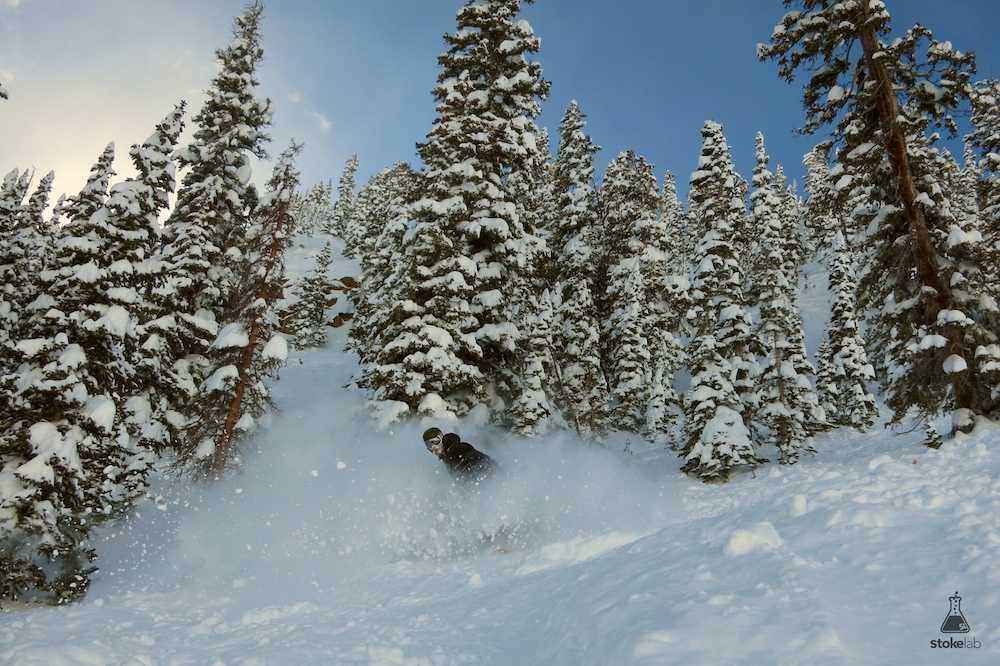 Yup. Another pow shot. Berglund exits the trees below High Life.