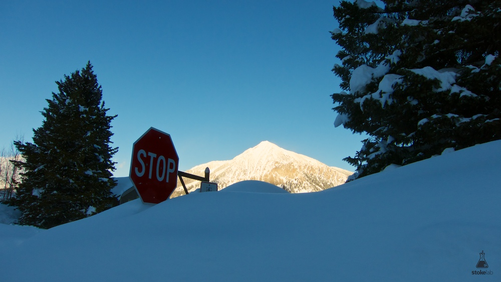So. Much. Snow. Even the STOP signs are neck deep.
