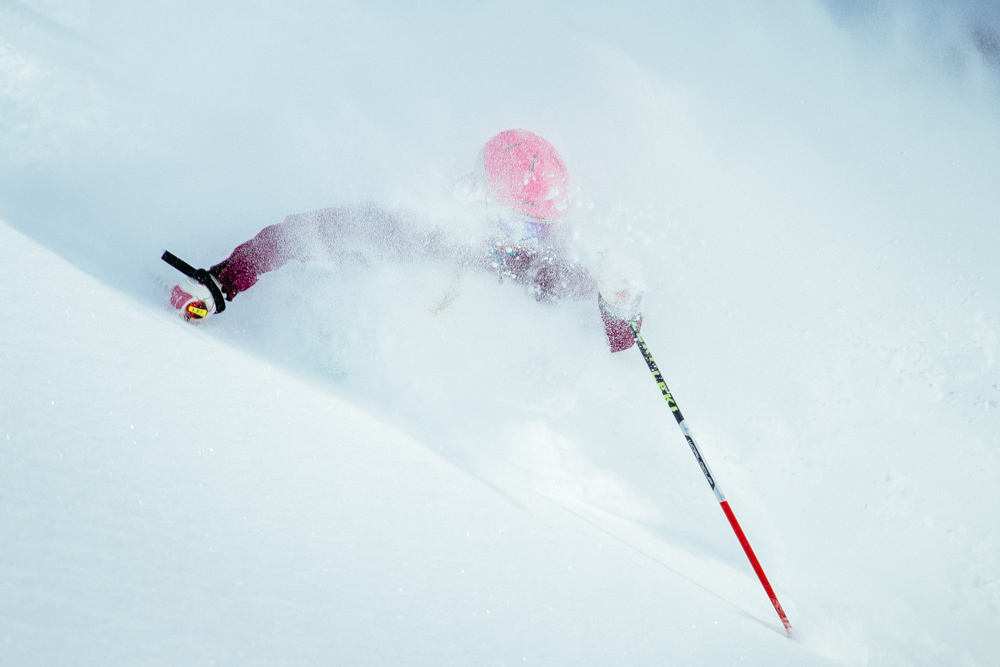 Our very first shot of the Shootout and Katie Van Riper hit the spot perfectly. Alta, Utah.