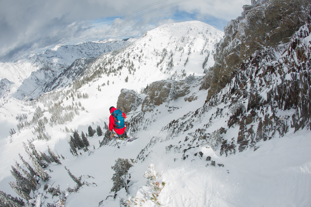 Parker Cook sends it large in between 40mph wind gusts. This image won the Athletes' Choice Award. Snowbird, Utah.