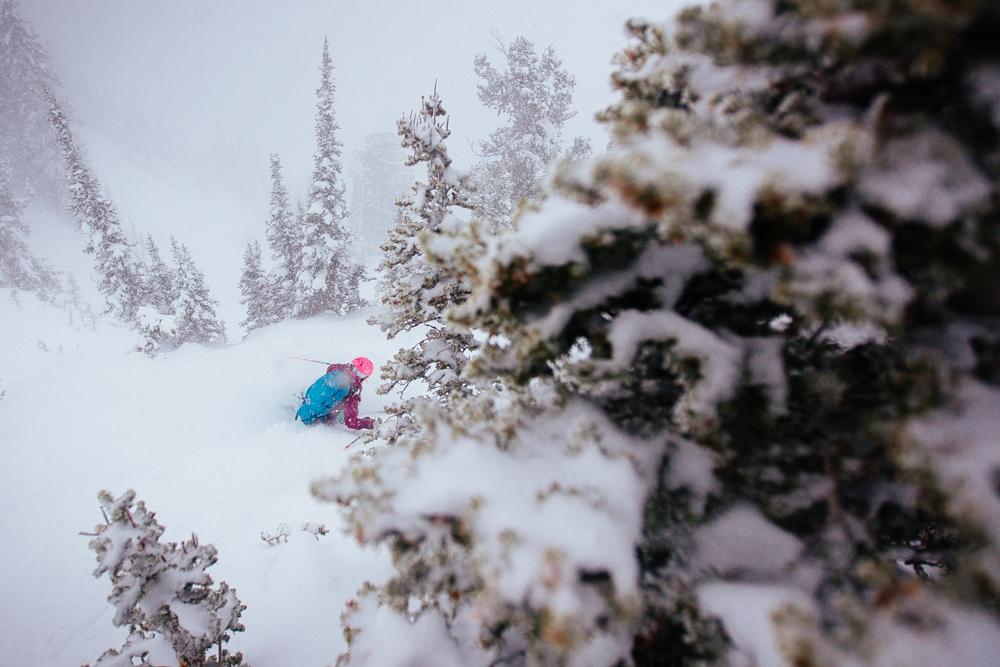 Katie Van Riper dipping into the abyss. Snowbird, Utah.