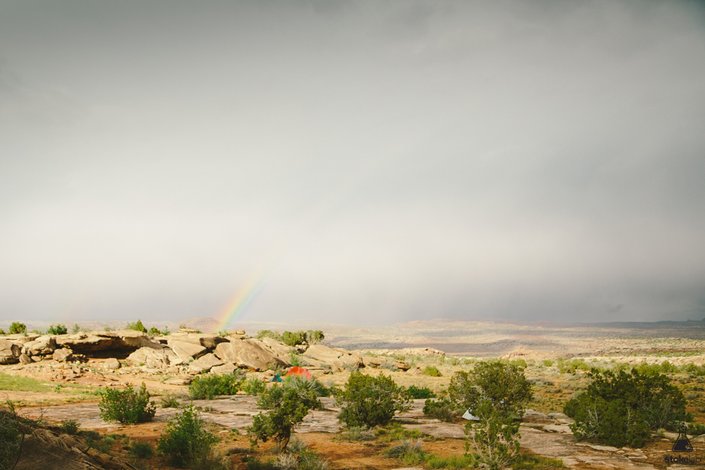 Rain, wind and a rainbow over our tent.
