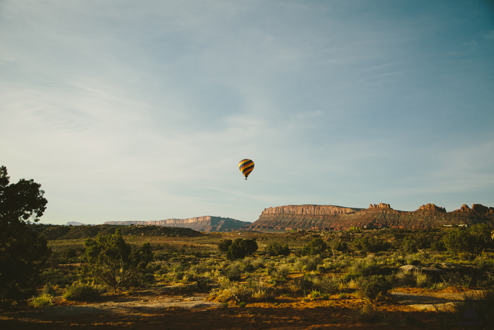 Things you see from camp: a morning hot air balloon flight.