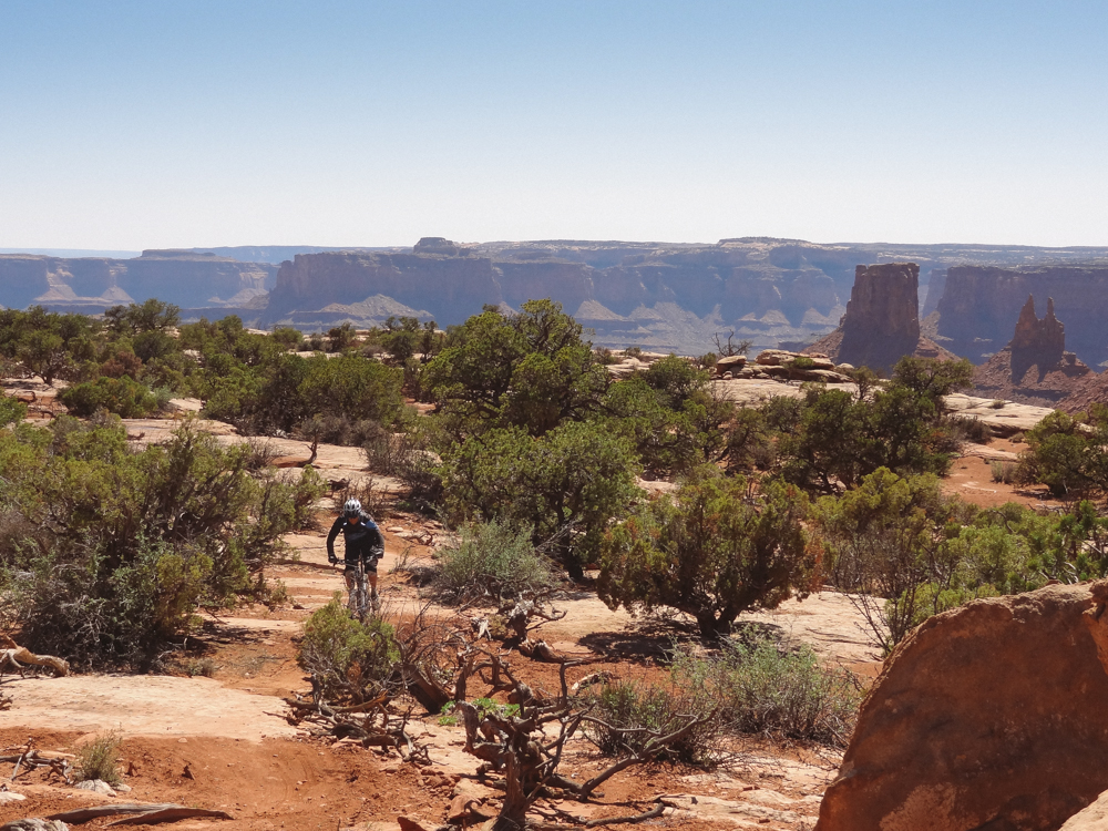 Every time you turn a corner at Dead Horse Point, you get another view like this. Rider: Rusty Thompson. Photo: Mandy Thompson