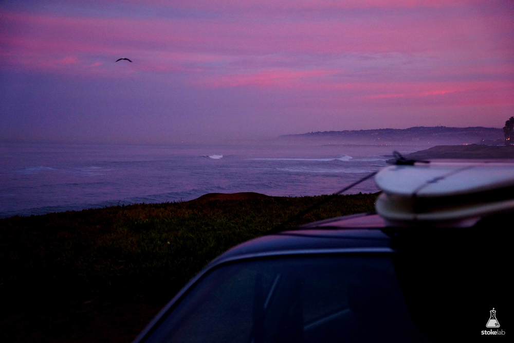We chased the swell all the way from San Fran down to southern San Diego. We drove through the night. Neal fell asleep at the wheel, and I woke up to the cliffs firing.