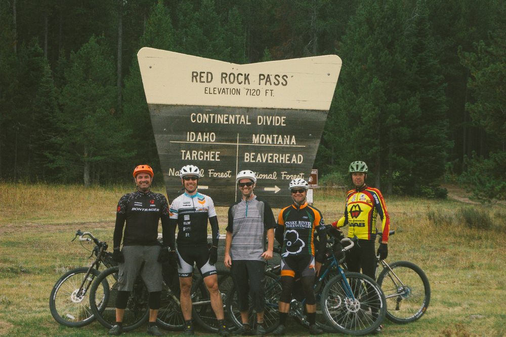 The high point (literally) of the ride. From Left: Todd Walton, Tom Puzak, Me, JP, Aaron Bible