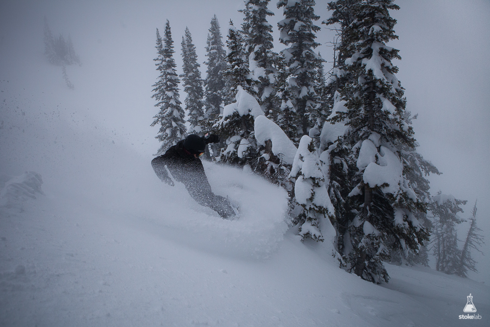 StokeLab adventurer Nick Weymouth with a backside slash in whiteout conditions at Grand Targhee, Wyoming last winter.