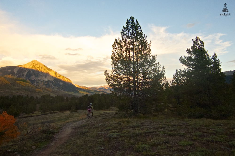A lone rider chases last light in Crested Butte, Colo.