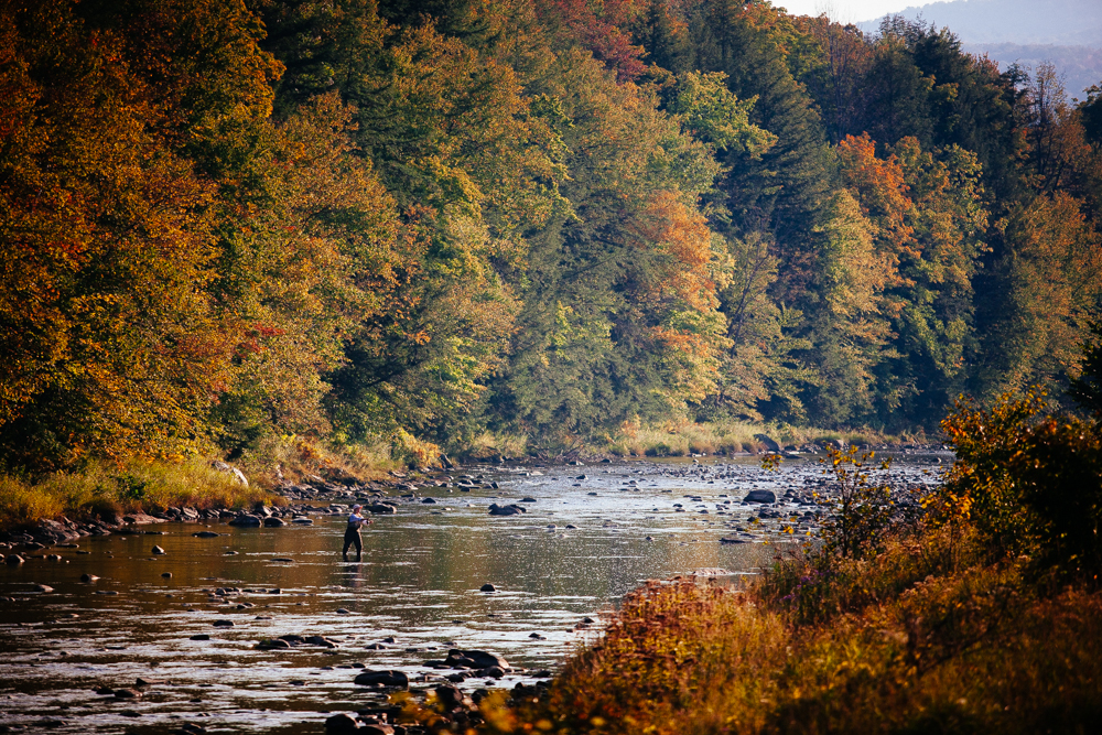 Renee Cook on the Ottauquechee River, Bridgewater, Vermont.