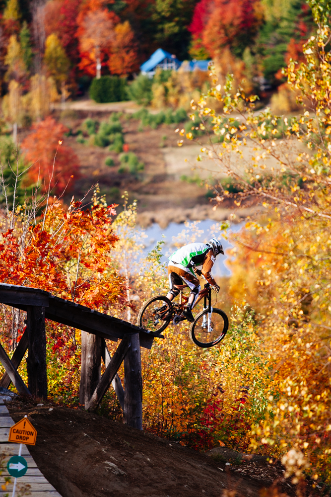 Matty Hauke sending one into the colorful abyss. Highland MTB Park, NH. October 14, 2008.