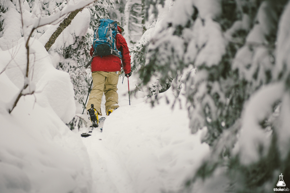 First Stop Board Barn athlete Randy Elles enjoying the uphill. Vermont backcountry, 2015.