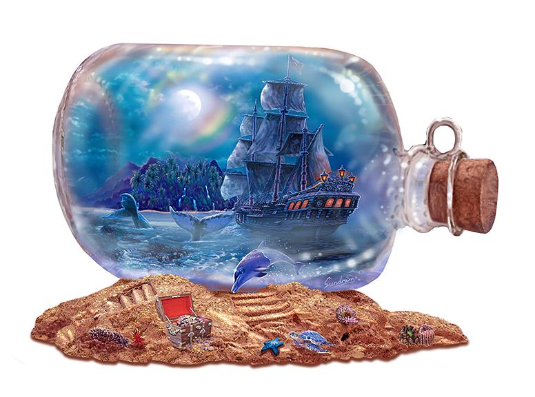 Ship & Moon in a bottle