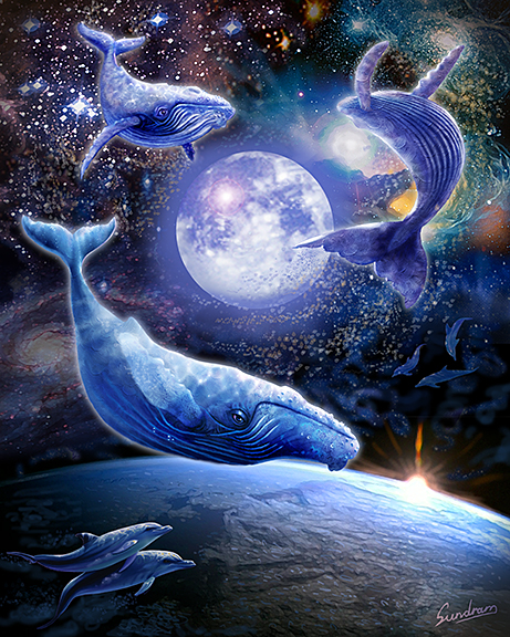 Whales over the moon